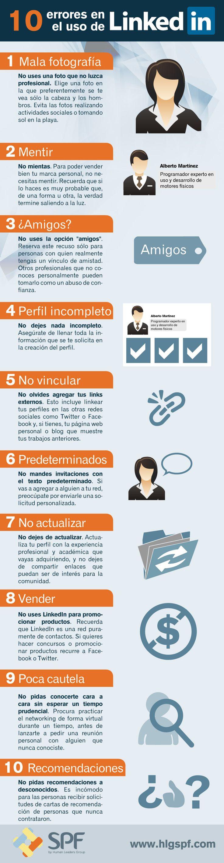 10 errores en el uso de LinkedIn. Infografía en español. #CommunityManager