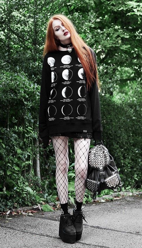 Heart locket choker with moon phases sweater, shorts, oversized fishnet tights & platform boots by oliviaemilyx