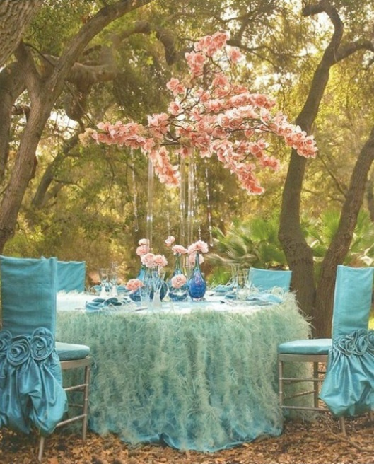 teal wedding tablescape