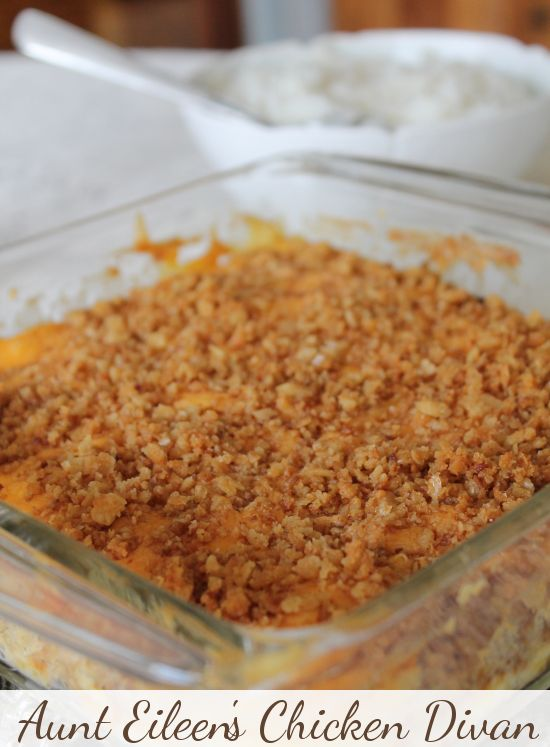 Delicious family recipe for Chicken Divan, a yummy casserole dish that mixes chicken with broccoli, cheese, breadcrumbs, and Cream of Chicken soup to create the ultimate comfort food! Can also be prepared with turkey to use up those Thanksgiving leftovers.