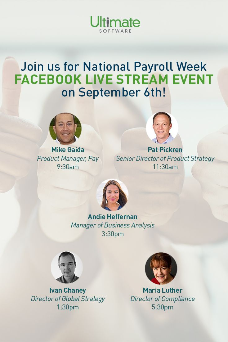 Don't miss our National Payroll Week live stream event happening tomorrow on Facebook! #PayrollCounts