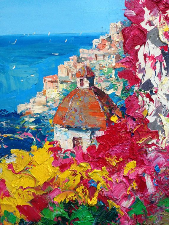 Positano Painting, Amalfi Coast Italy Painting, Original Canvas Art Oil, Italian Riviera Art, Seascape Painting, Wedding Gift Her Parents