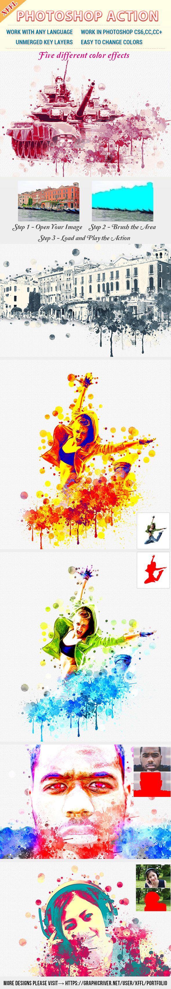 Discolour Watercolor Photoshop Action - Photo Effects Actions