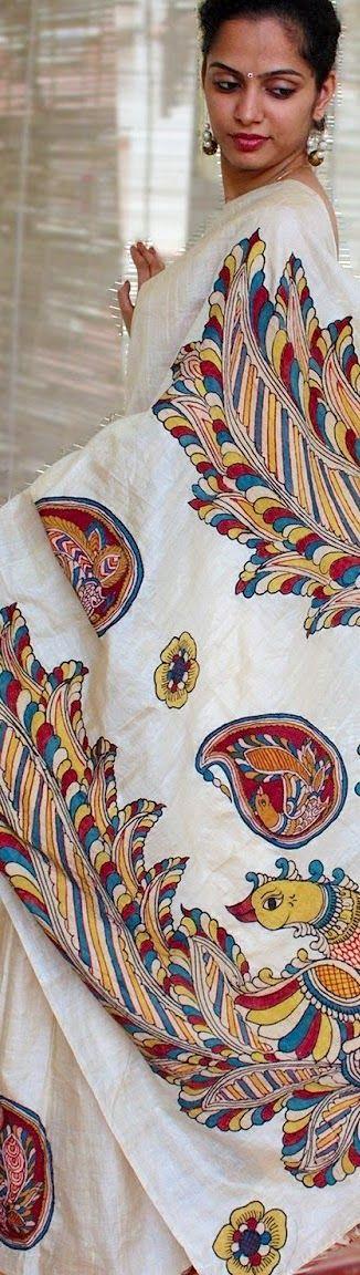 Handwoven and hand painted Kalamkari saree, white