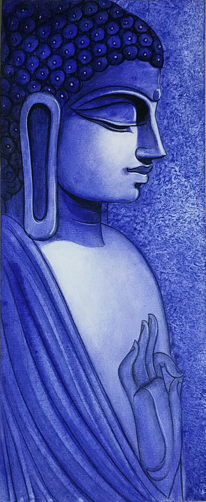Hand Painted Acrylic Canvas of Lord Buddha