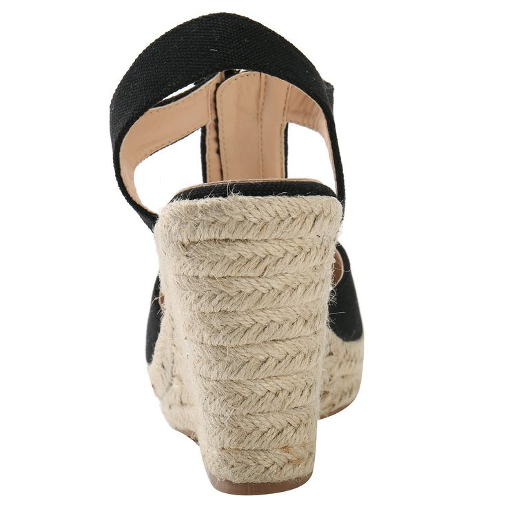 Alexis Leroy Women T-strap Buckle Open Toe Espadrille Wedge Sandals --  Check this awesome product by going to the link at the image.