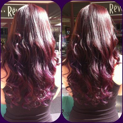 red to purple ombre - Found it!Hair Beautiful, Purple Ombre, Purple Hair, Hair Colors, Red Ombre, Hair Makeup, Hair Nails, Dark Red, Hair Spir