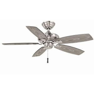 """$75 at Lowe's - 42"""" outdoor ceiling fan - wet rated - brushed nickel - Distance from Ceiling to Bottom of Fan (In.)  10.71"""