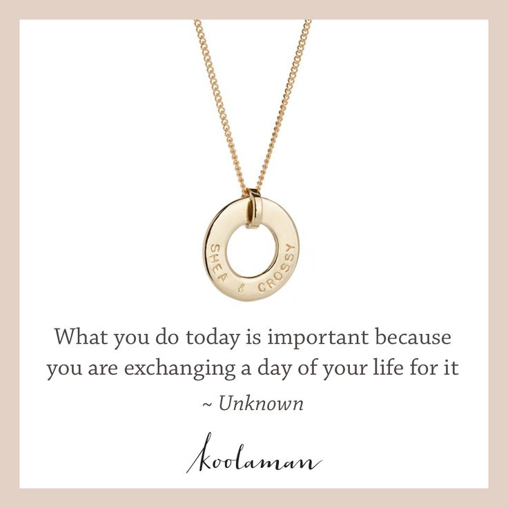 What you do today is important because you are exchanging a day in your life for it- Unknown. Featuring Koolaman 'Katherine' Pendant. Shop now: http://bit.ly/WKTHTY