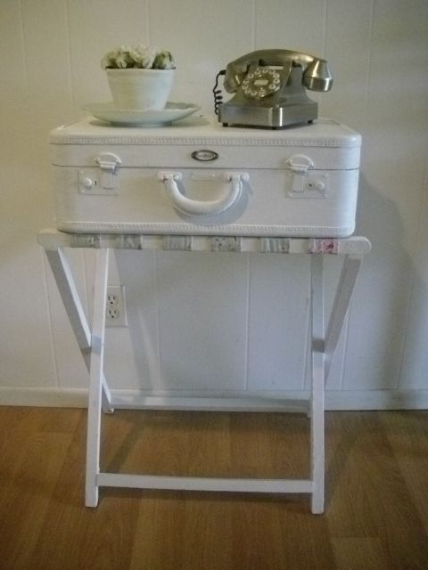 Painted Suitcase And Luggage Rack Turned Into An Adorable Side Table Part 70