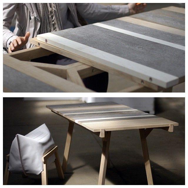 stół Inspirowany projektem Oskara Hansena, pokazuje upływ czasu i starzenie się materiału. Prosty układ wymiennych desek blatu, dzięki magnesom umożliwia bezkonfliktowe łączenia, zabawę w dobieranie gatunków materiału, różnorodne faktury. Projekt:...