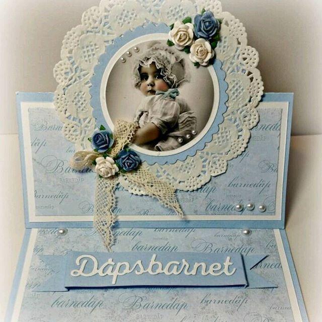 Dåpskort med  produkter fra #papirdesign  #cardmaking #scrapping #papercraft #craft #kortlaging #kort #dåpskort #dåp #baptism #vintagelaceandroses #madebyme #DIY #instacraft