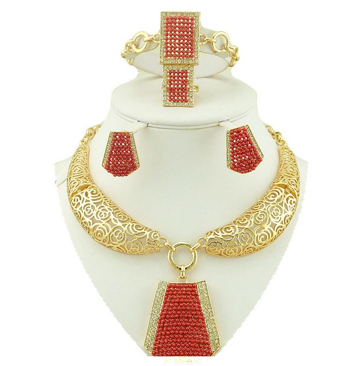 18k african jewelry sets african necklace  jewelry set wholesale women necklace bead  jewelry