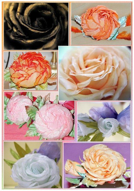 Розы из шелка. www.detali-71.ru