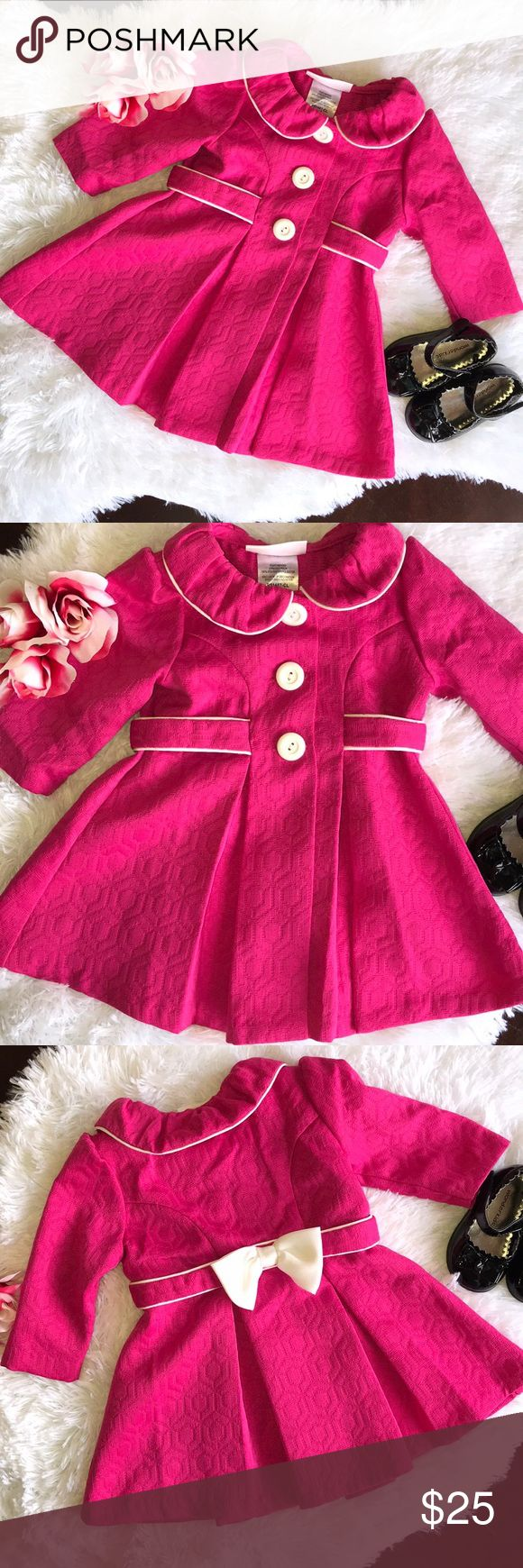Baby girl coat Baby girl pink long coat with bow size 6-9 months Bonnie Baby Jackets & Coats Pea Coats #babygirlcoats