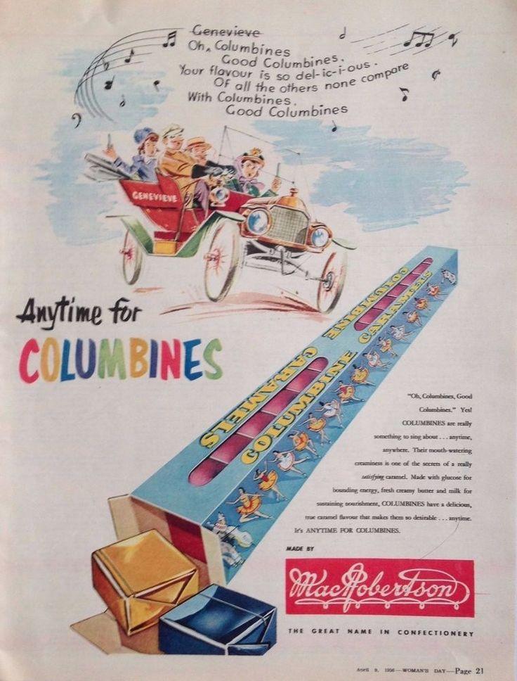 MAC.ROBERTSON S COLUMBINES AD RETRO PACK 1956 original vintage AUSTRALIAN advert