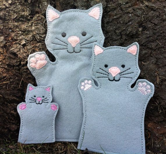 Cat  Pet Animal Felt Hand AND Finger Puppet  by ThatsSewPersonal, $18.00