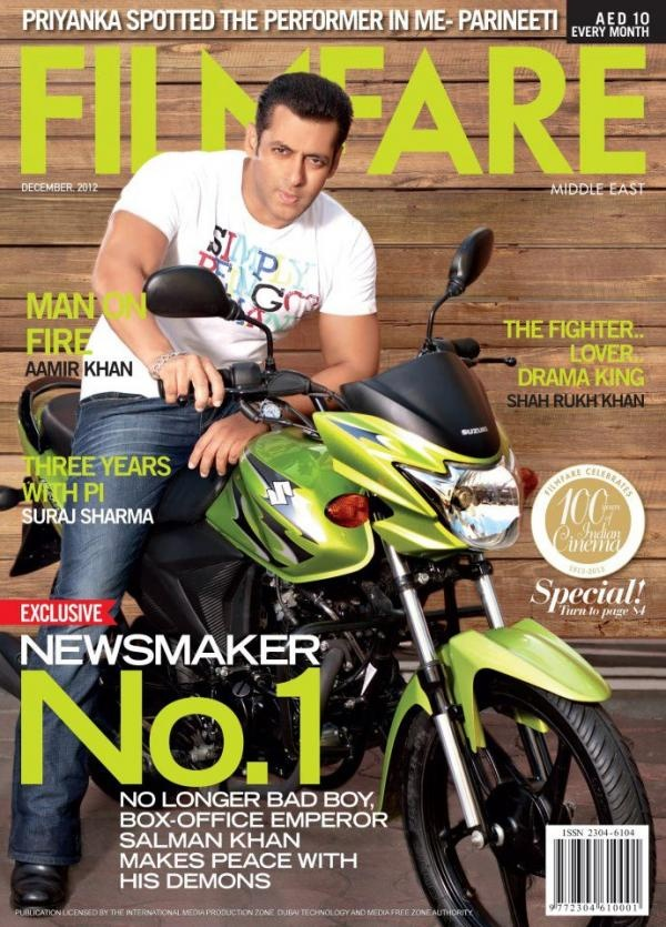 Salman Khan on the cover of Filmfare Middle East Magazine  - December 2012