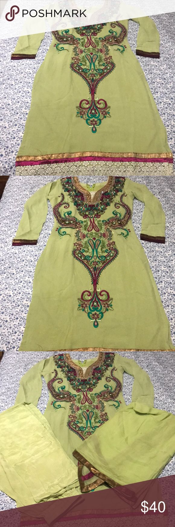 Pakistani Shalwar Kameez Pistachio Green Pakistani Dress with multicolored embroidery on top of the Shalwar. Comes with pants and a dupatta. Beautiful dress for dawaats and parties. It's gorgeous to wear!   #pakistani#shalwarkameez#indianclothes#pakistaniwear#beautiful#gorgeous#indianwear Dresses