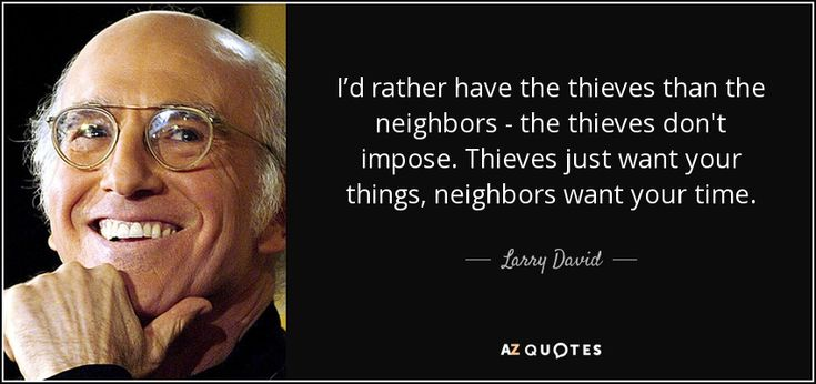 I'd rather have the thieves than the neighbors - the thieves don't impose. Thieves just want your things, neighbors want your time. - Larry David