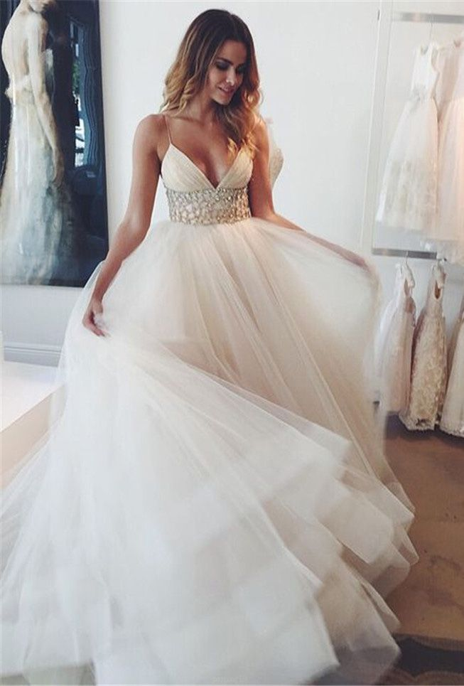 Outlet Rhinestone White Wedding Dresses Feminine Long Straps ...