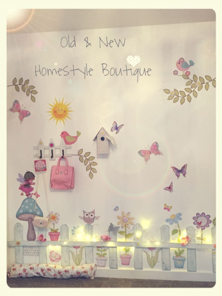 Pretty Pallet Wood Picket Fence & Girly Decoupaged Prints