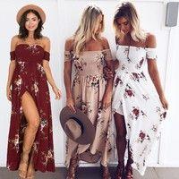 Wish | Boho style long dress Women Off shoulder Maxi Vintage Floral Skirt Sundress Summer Party Evening Beach Dress UK STOCK