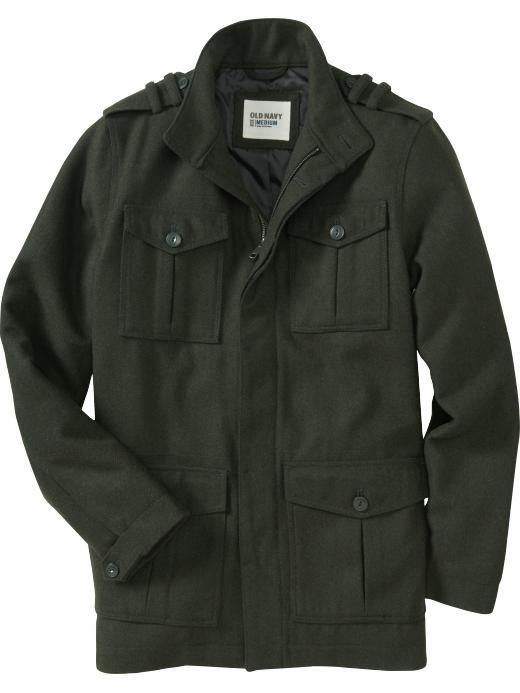 Men's Long Wool-Blend Military Coats @old navy