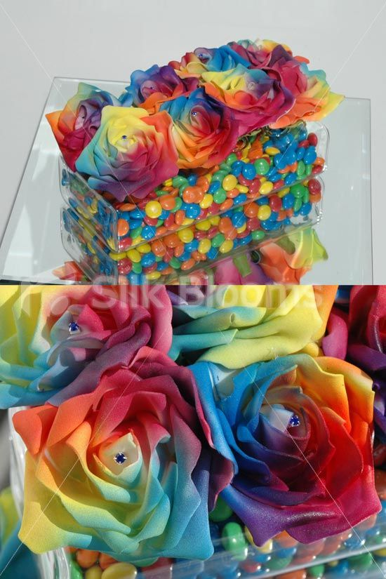 Vibrant Multi-Coloured Rainbow Wedding Floral Vase Arrangement. How fab for a wedding!