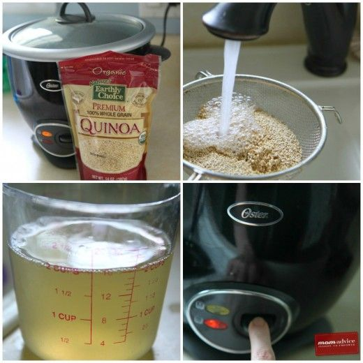 How to cook Quinoa in a Rice Cooker  Author: Amy Allen Clark Recipe type: Side Prep time:  2 mins Cook time:  15 mins Total time:  17 mins Serves: 4 Ingredients 1 cup quinoa 2 cups liquid (low-sodium chicken broth, low-sodium vegetable broth, or water) ½ teaspoon salt Inst