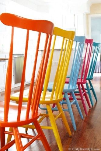 How to spray paint colorful wooden chairs step by step DIY tutorial instructions