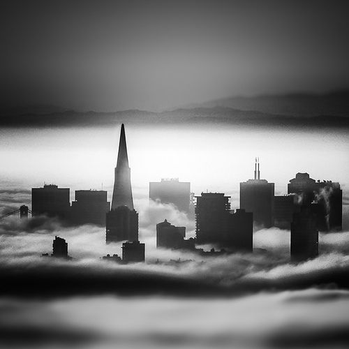 San Francisco. The tall, pointed spire of the Trans America Building stands tall above the others.