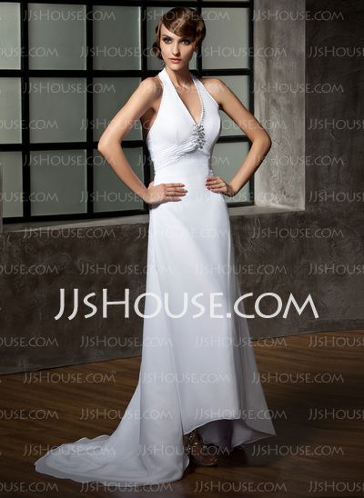 Wedding Dresses - $124.99 - A-Line/Princess Halter Asymmetrical Chiffon Wedding Dress With Ruffle Beadwork Sequins (002011696) http://jjshouse.com/A-Line-Princess-Halter-Asymmetrical-Chiffon-Wedding-Dress-With-Ruffle-Beadwork-Sequins-002011696-g11696