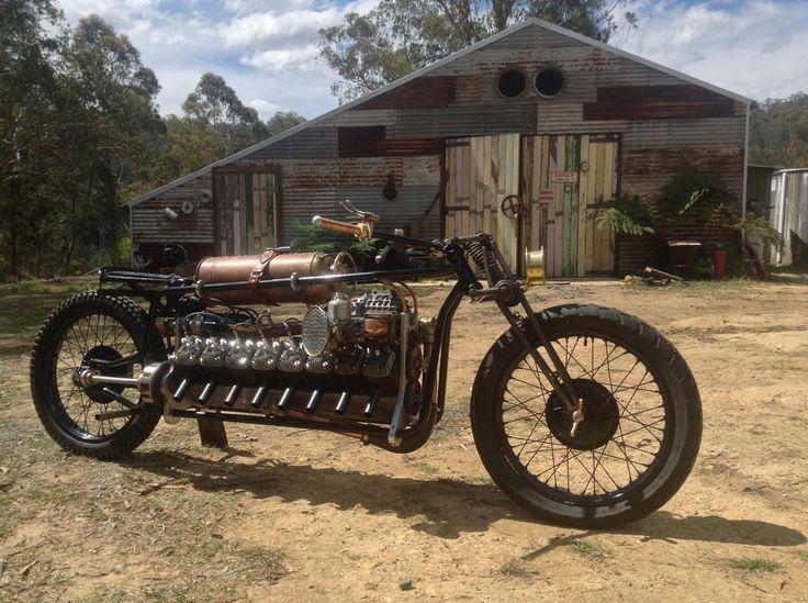 """1916"" supercharged 2 stroke V16 Built by Mark Walker. Australia. Completed in 2013."