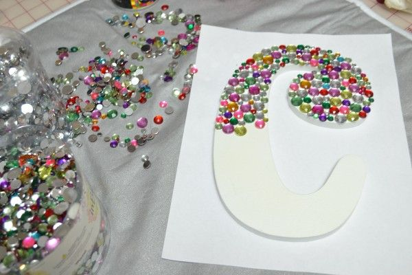 Create a Bedazzled Monogram Wood Letter