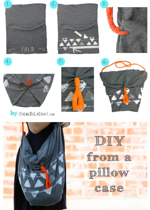 This cute hobo bag is made from a pillowcase. | 31 Easy DIY Projects You Wont Believe Are No-Sew