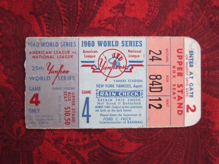 1960 WORLD SERIES GAME 4 TICKET STUB PITTSBURGH PIRATES vs NEW YORK YANKEES