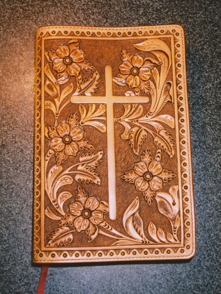Custom Hand-tooled Leather Bible Cover. $450.00, via Etsy.