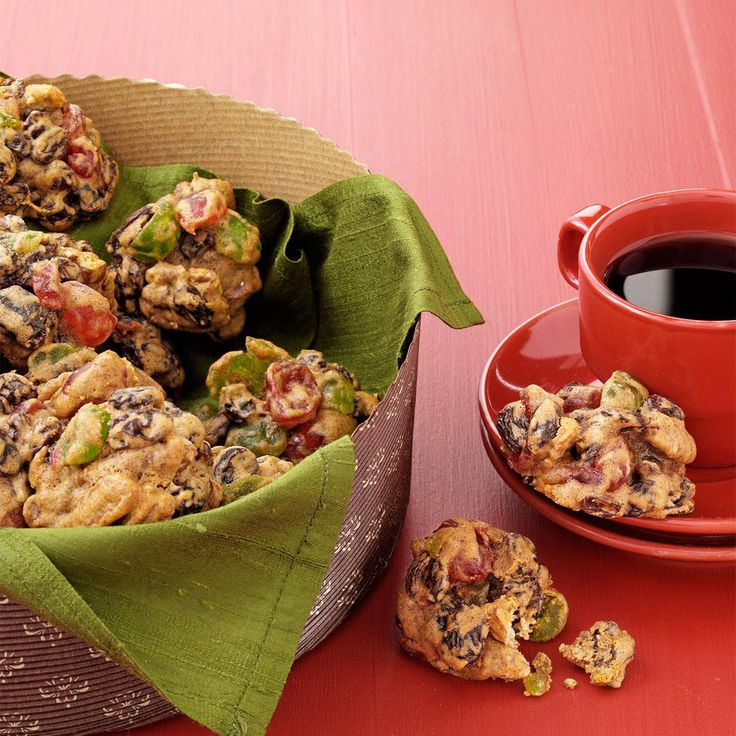 Better-Than-Fruitcake Cookies Recipe -Mostly fruit and nuts, these sweet and chewy clusters make excellent gifts, freeze well, can be shipped easily, and most importantly, live up to their name. —Lillian Charves, New Bern, North Carolina