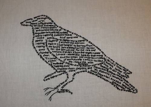 the raven: Creative Ideas, Teas Towels, Embroidery Poems, The Ravens, Halloween Goblin, Brilliant Ideas, Words Cloud, Parties Theme, Ravens Poems