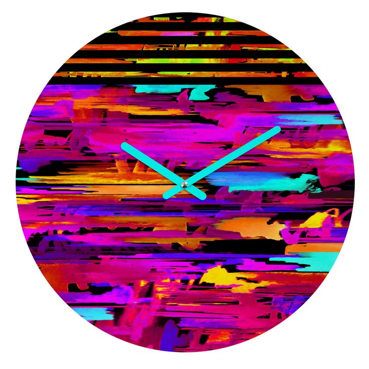 Holly Sharpe Colorful Chaos 2 Round Clock | DENY Designs Home Accessories