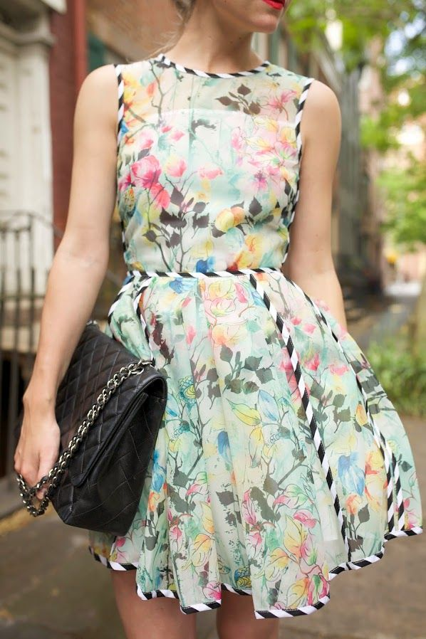 Floral prints and stripes meet in the perfect Summer dress.