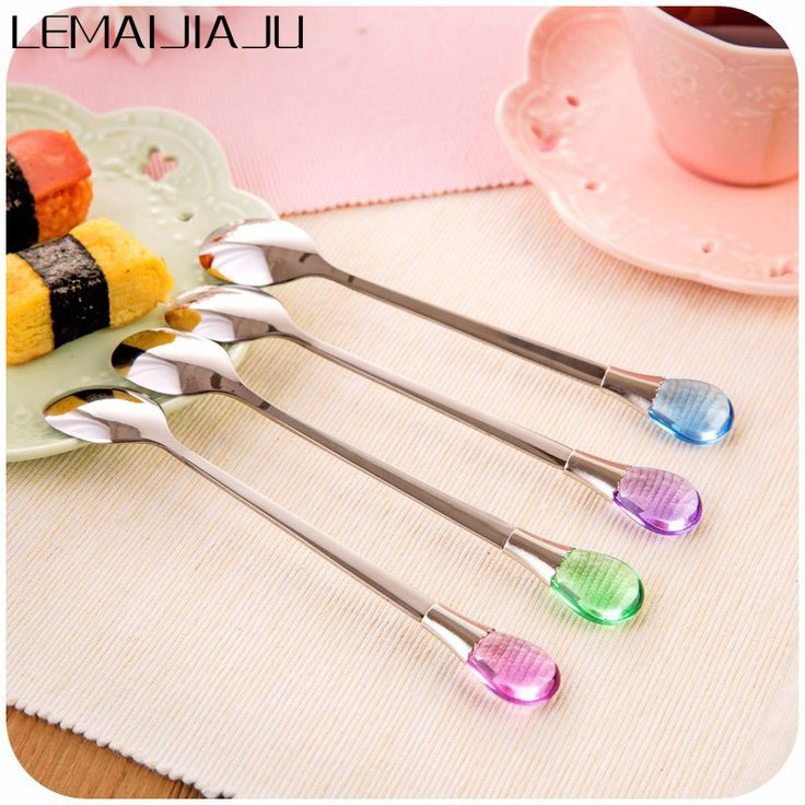 Cheap spoon ring, Buy Quality spoon mug directly from China spoon diy Suppliers:  1Pc Korean Style Stainless Steel Long-handled Spoon Creative Water Drop Ice Cream Spoon Stirring Coffee Spoon A45