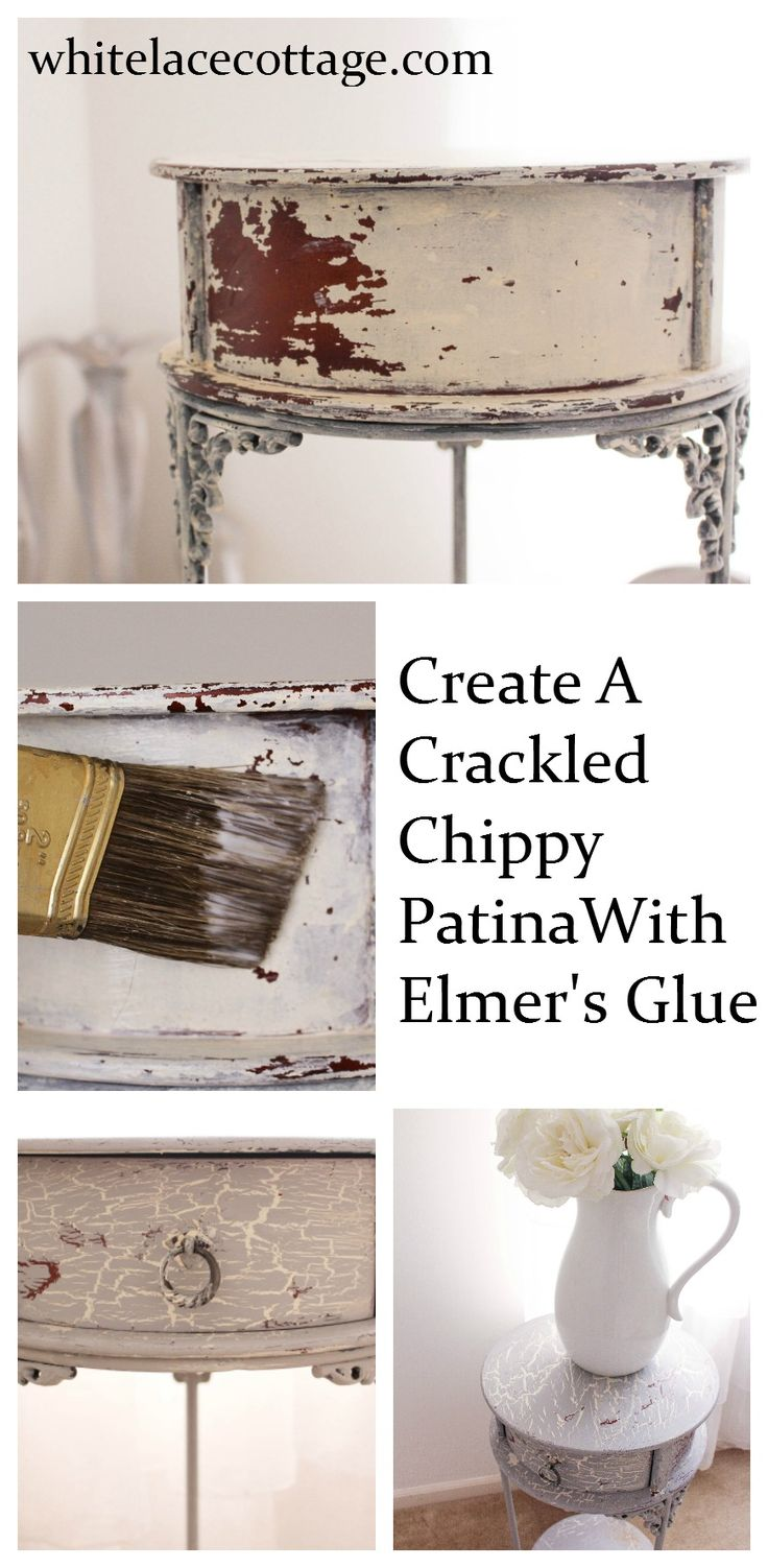 Faux painting furniture ideas - Create A Crackled Distressed Look Using Elmer S Glue