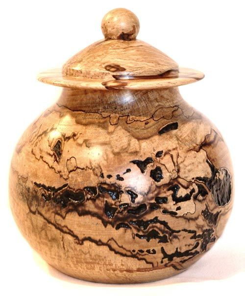 Spalted Beech Cookie Jar Lidded Vessel With Ebonised