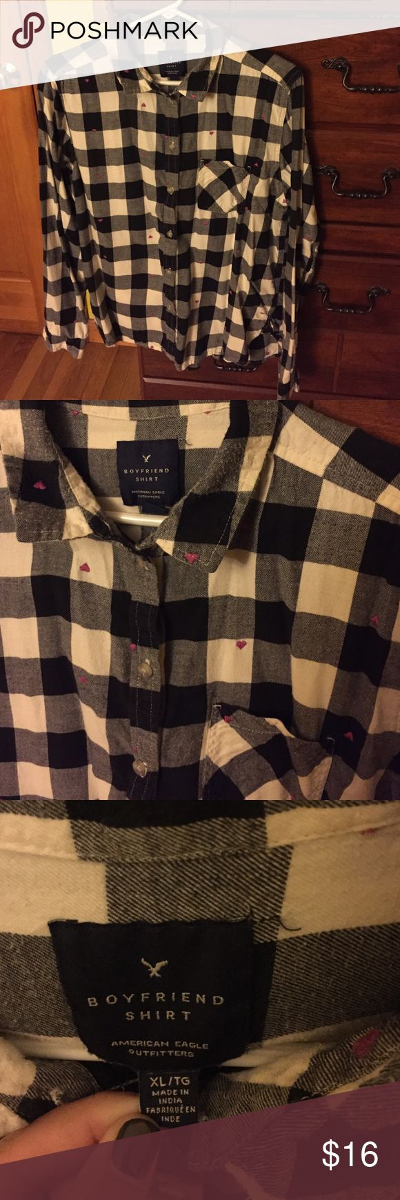 Women's flannel shirt Black and white flannel short with little hearts on it. It's a boyfriend fit American Eagle Outfitters Tops Button Down Shirts