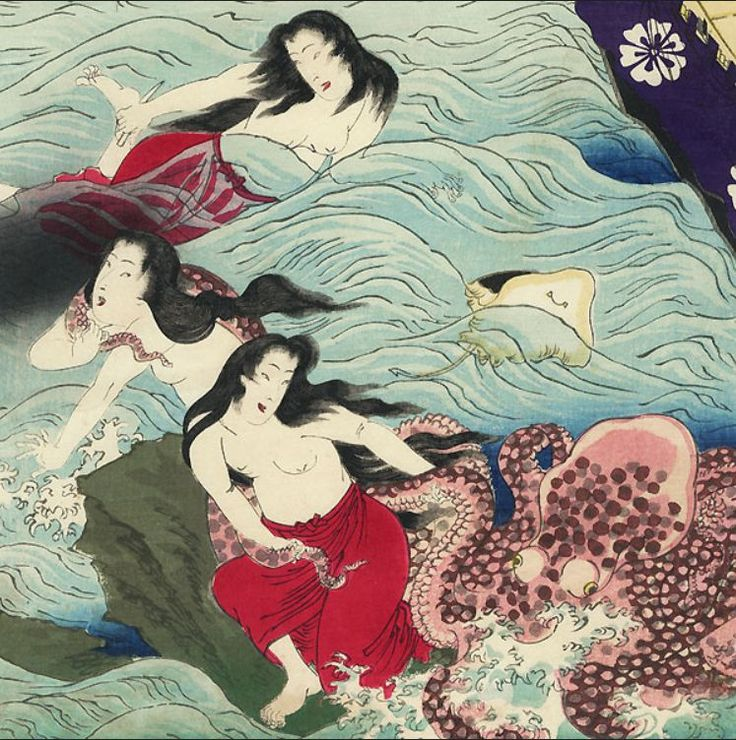 Beauties Watching Amas by Chikanobu (Detail)