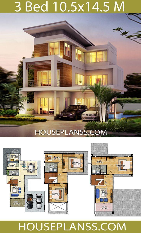 105x145 3d Bedrooms Design House House Design Plans 3d Idea Plans House Design Idea 10 5x14 5 With 3 Be House Plans Model House Plan Beach House Design