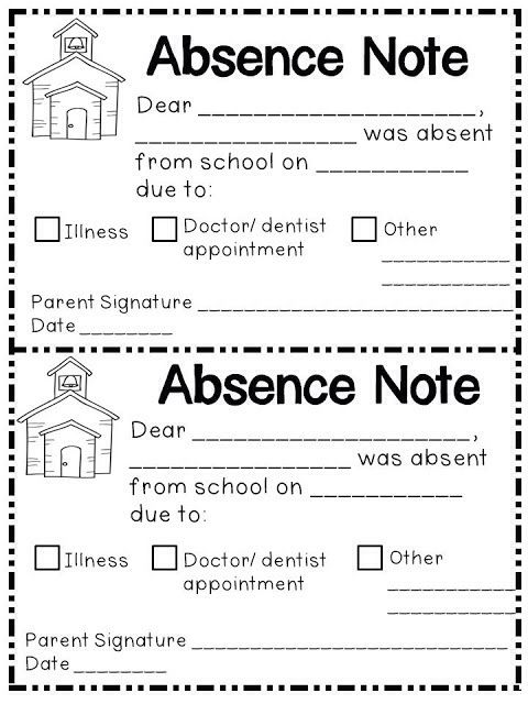 absent notes for school templates - 17 best images about printable on pinterest money