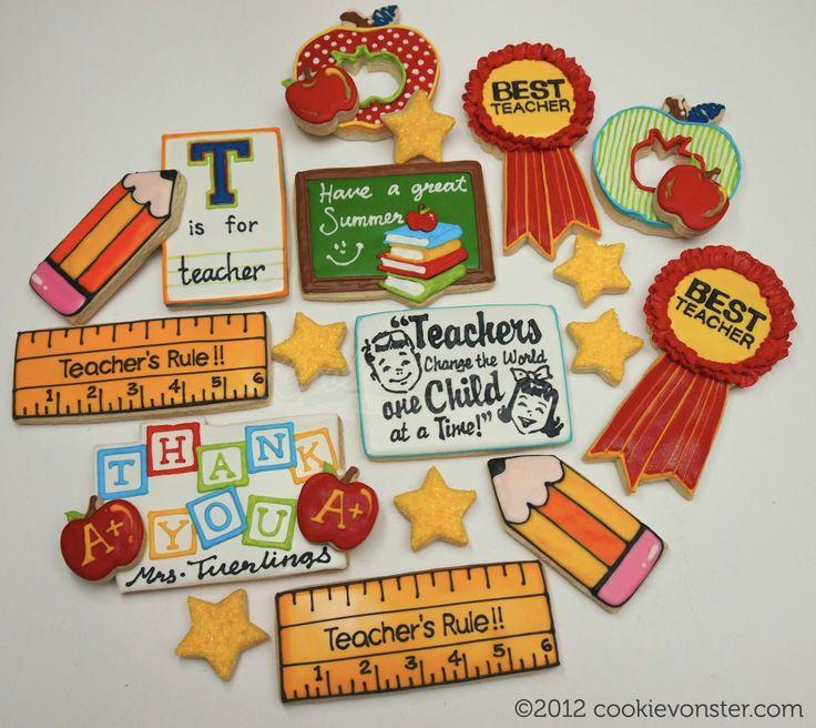 teacher cookies - ruler, pencil, ribbon, apple, star, chalk board, book worm
